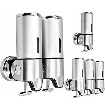 Stainless Steel Wall Mounted Bathroom Shower Soap Shampoo Gel Dispenser Pump GN