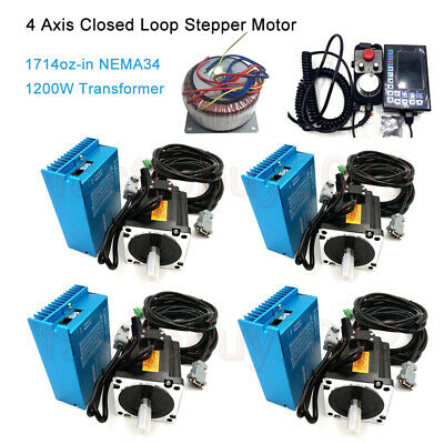 4Axis Nema34 12NM Motor Drive Closed Loop Stepper Kit +Power Supply + Controller