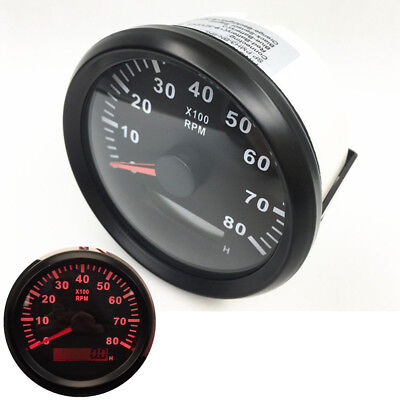 Analog 8000RPM Tachometer Gauge Red LED Tacho Digital Hour Meter Car Boat 85mm