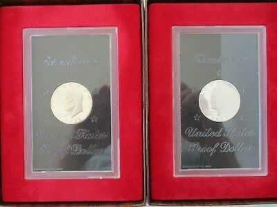 Two Eisenhower Silver Proof Dollars - 1971S and 1972S