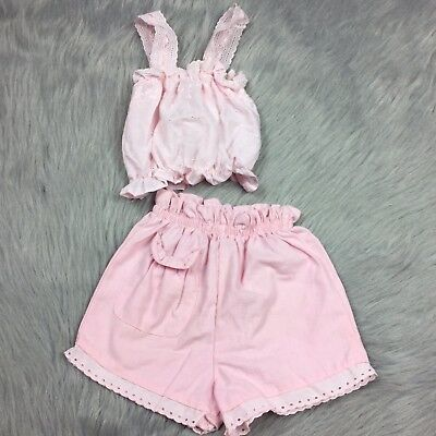 Vintage Toddler Girls Healthtex Pink Eyelet Lace Crop Top Short Set Summer