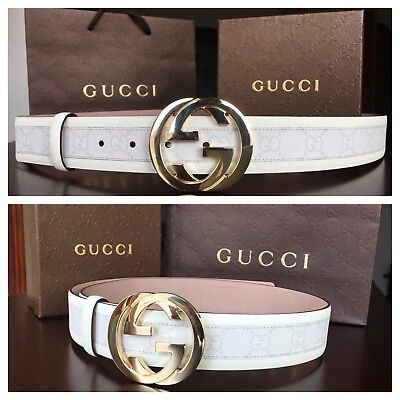 New w/ Tags Authentic White Gucci Belt w/ Gold Buckle 95 cm fits 30-34 waist