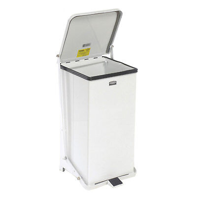 Fire Safe Step On Metal Trash Cans, 12 Gallon, White, Lot of 1