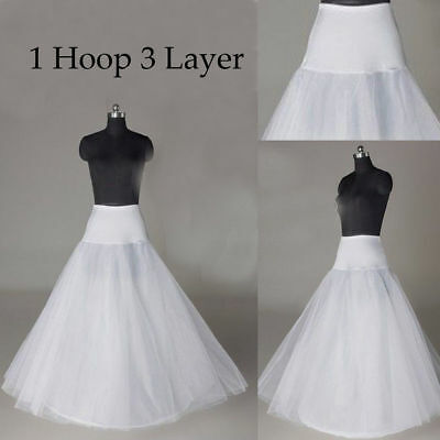 US 2 Colors A Line 1 Hoop Long Petticoat Underskirt Slip Crinoline Prom Wedding