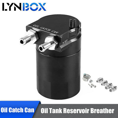 Black Racing Baffled Oil Reservoir Catch Can/Oil Tank/Air-Oil Separator Breather