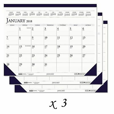 LOT: 3 House of Doolittle Recycled 2-Color Monthly Desk Pad Calendar w/ Notes