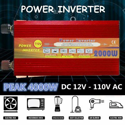 2000W High Power Car Vehicle Power Inverter DC12V to AC110V Power Converter HP