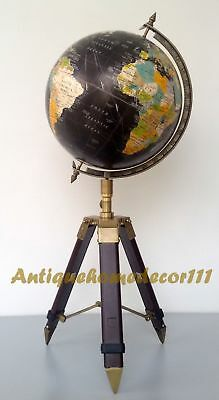 Gemstone world globe with gold tripod 5000 picclick uk antique nautical style world map globe 12 with vintage adjustable tripod stand gumiabroncs Image collections