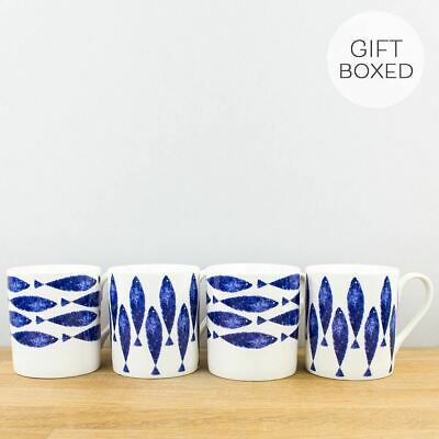 New Churchill Nautical Fishie Coastal Blue China Mug 4 Set Gift Box Coffee Cups