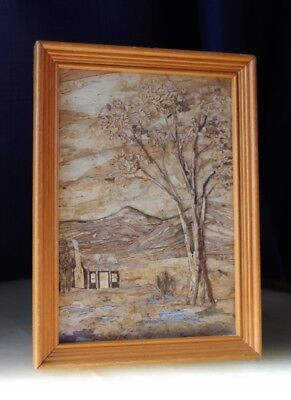 Quaint Folk Art BARK Painting With OUTBACK Homestead Realism