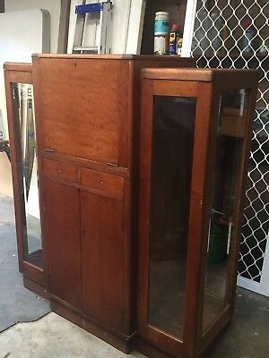 Art Deco Cocktail Cabinet, solid timber, mirrored section. Needs a little TLC.