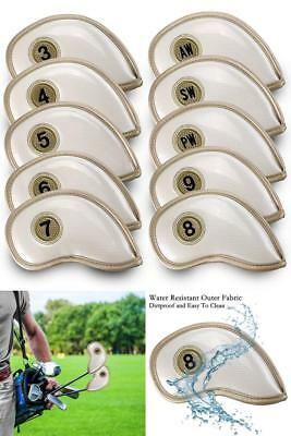 Pack of 10 Golf Club Iron Head Covers Wedge Pu Leather Headcovers Set Ping White
