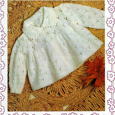 BABY knitting pattern baby matinee collared coat   4ply  18 /19 in