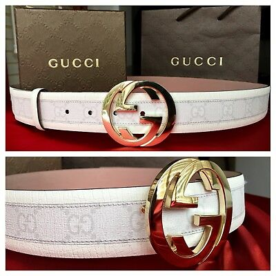 New w/ Tags Authentic White Gucci Belt w/ Gold Buckle 100 cm fits 32-36 waist