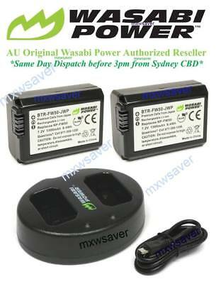 Wasabi Power (1300mAh) Battery x 2 and Dual USB Charger for Sony NP-FW50
