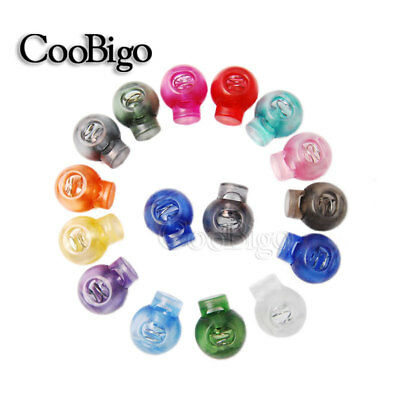 Colorful Round Ball Clear Cord Lock Toggle Stopper Cord Rope Sewing Accessories