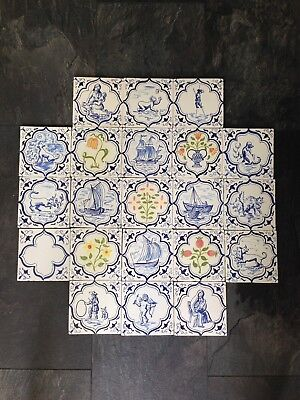 21 Vintage Blue & White J Burgess & Co Jackfield Tiles Delft Cherub Ship Floral