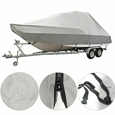21-24ft 600D Heavy Duty Waterproof Fabric Trailerable Pontoon Boat Cover Gray !
