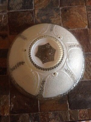 Vintage Art Deco Frosted Glass Globe  Ceiling Light Fixture Shade 3 Hole