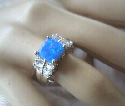 Antique Vintage Sterling Silver Opal Dress Ring size 9 a lovely Art Deco setting