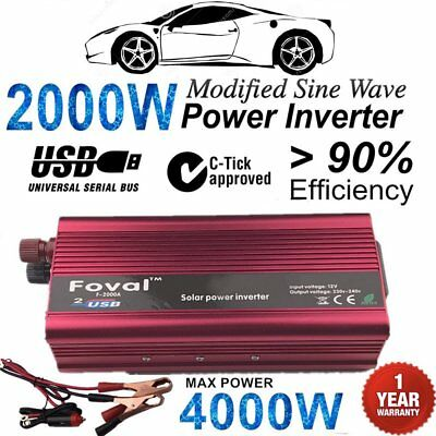 2000W-4000W DC12V to AC220V Portable Car Power Inverter Charger Converter USB X5