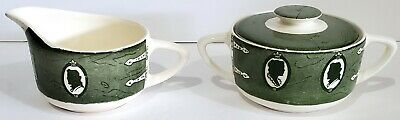 COLONIAL HOMESTEAD ROYAL USA SUGAR BOWL w/ LID & CREAMER SET GREEN TRANSFERWARE