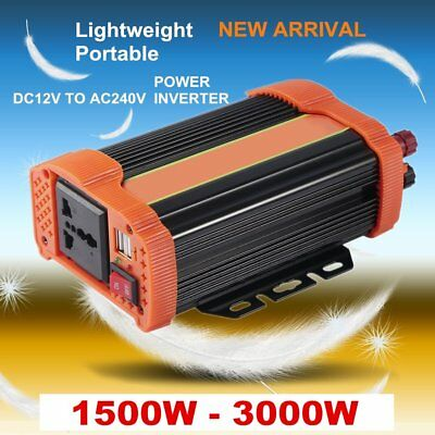 1500W 3000W Max Car Power Inverter 12V to 240V Solar Inverter USB Charger X5