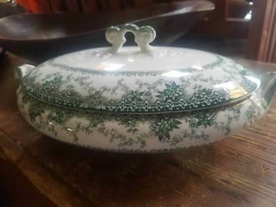 """JOHN MADDOCK & SONS ENG.  GREEN Transferware 12"""" OVAL COVERED DISH"""
