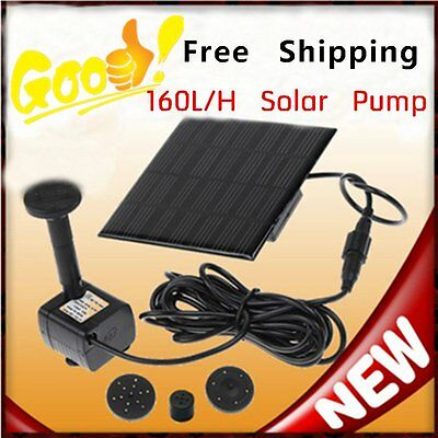 Solar Power Fountain Garden Pond Water Feature Pump Kit Panel Submersible LG2