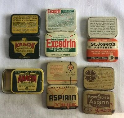 Collectible Vintage Medicine Tins Lot Of 6 Bayer, York, Excedrin And More