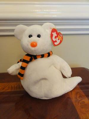 TY BEANIE BABIES QUIVERS the HALLOWEEN GHOST BEAR  MWMT DOB OCTOBER 21 2002