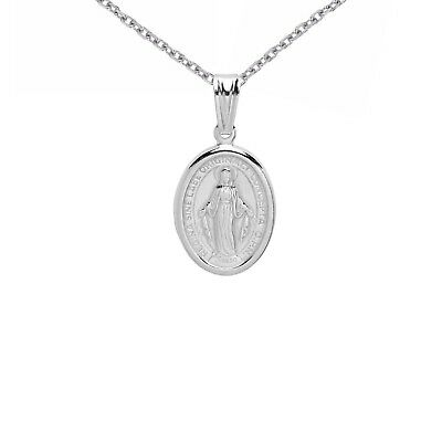 Sterling Silver Mini/Small Italian Virgin Mary Miraculous Medal Pendant Necklace