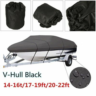 BOAT COVER 14' 17' 24' FT V-HULL for BASS RUNABOUT BOAT GRAY STORAGE COVERS M1