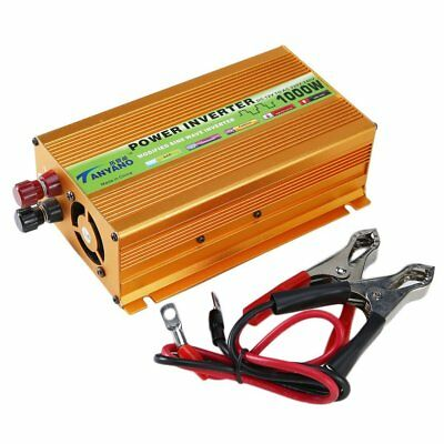 1000W Boat Car Sine Wave Power Inverter DC 12V to AC 220V USB/Voltage Adapter +