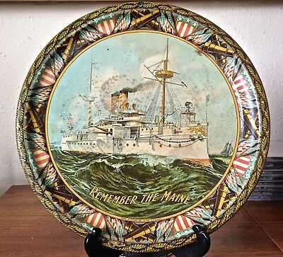 "Vintage Antique ""Remember The Maine"" Tin Litho 12"" Tray"