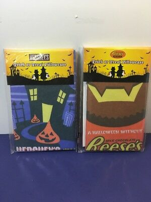 Lot of 2 Reese's  Hersheys PEANUT BUTTER CUPS Trick Or Treat PILLOWCASE* NEW