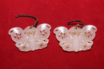 Pair of Antique Chinese Carved White He Tian Jade Buttefly - Circa Qing Dynasty