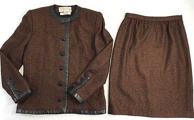 Vtg Givenchy I. Magnin Skirt Suit Set 8 Wool Brown Black Leather Trim Chevron