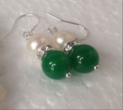 New W & L NEW 7-8mm white pearl 10mm green jade silver earrings555