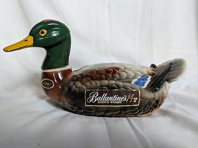 BALLANTINE'S Scotch Whiskey 1969 Mallard Duck Decanter Liquor Bottle.