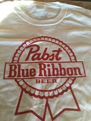 New Men's XL Pabst Blue Ribbon Beer PBR White T-Shirt Red Logo Stage Door Casino