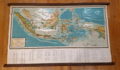 Vintage mid-century Map-INDONESIA-JAVA-SUMATRA school wall chart Indonesian