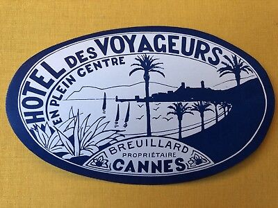 Original Large Luggage Label ~ Hotel Voyageurs ~ Cannes France ~ Riviera Mint