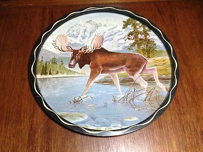 """1950s vintage metal serving tray  11"""" designed by  James L Artic  Moose tray"""