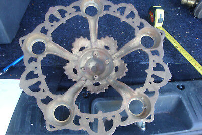 Antique Vintage Cast Iron Art Deco Ceiling Light Fixture 5 Bulb Chandelier