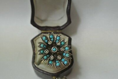 FINE LARGE VICTORIAN TURQUOISE & SEED PEARL 14 ct GOLD CLUSTER RING