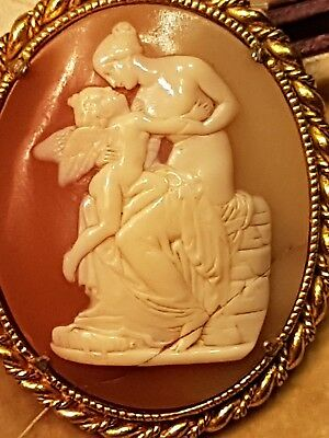 Antique Large Gilt Framed Cameo with Carved Shell set on Coral of Woman/ Child