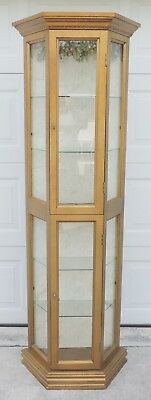 "Vtg 72"" Octagon Gold Gilt Wood Glass Lighted Curio China Cabinet Display Case"