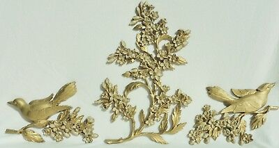 3 Vintage Syroco Dogwood Flowers & Birds Decorative Wall Hanging Pieces #3756