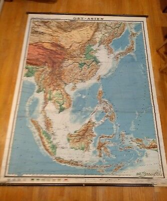 Vintage Gaeblers Far East Asia Map School Chart China Japan Korea Indonesia